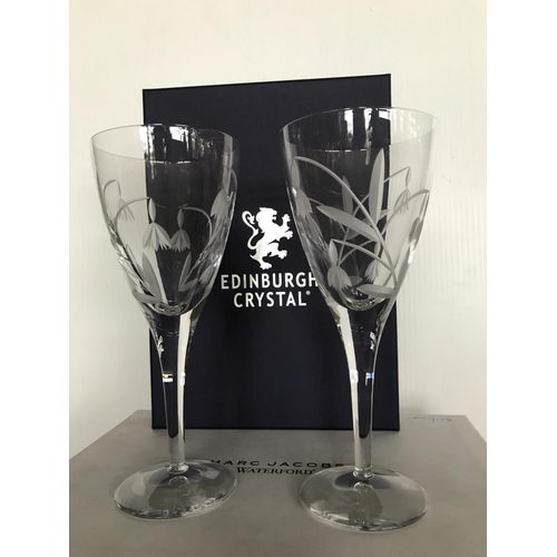 29 - Pair of Edinburgh crystal 'FLOWERS' wine glasses....