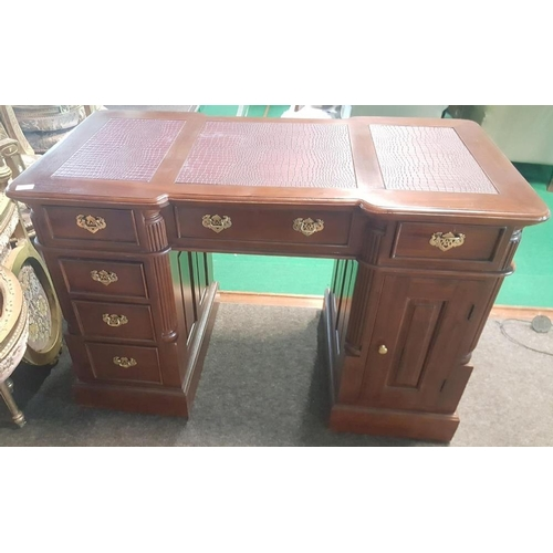 40 - Carved mahogany Pedestal Desk with tooled leather top 47in (w) x 27.5in (h)....