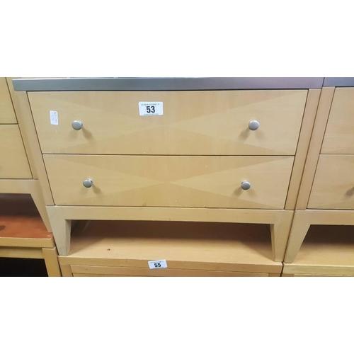 53 - Maple wood two draw locker....