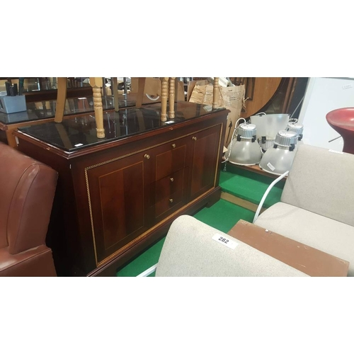 8 - Ex Shelbourne mahogany side board with marble top with two door and three draws 35ins W x 35ins H x ...