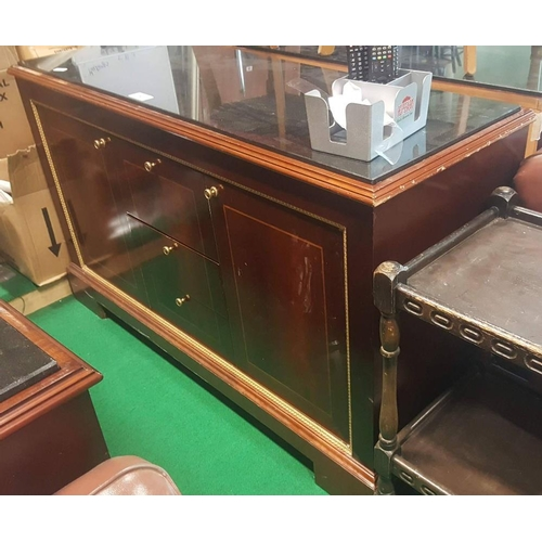 9 - Ex Shelbourne mahogany side board with marble top with two door and three draws 35ins W x 35ins H x ...