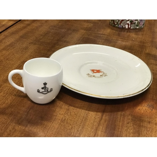432 - Rare cup and saucer White Star Line and The Cunard Steamship Company...