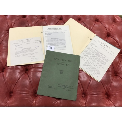 50 - Ex Shelbourne Hotel Dating 1946 specification and design documents relating to installation of a lif...
