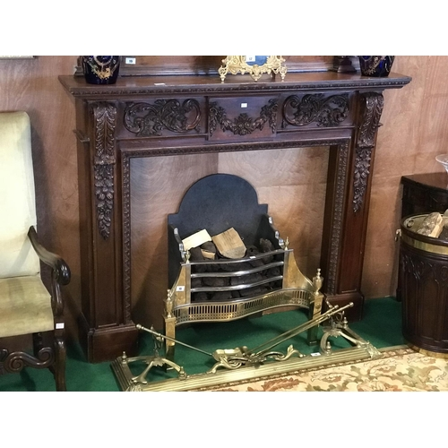 14 - Carved mahogany fire surround 66'' W x55'' H...