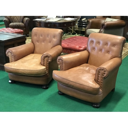 3 - Ex Morrison Hotel a pair of deep button brown leather armchairs 34'' W...