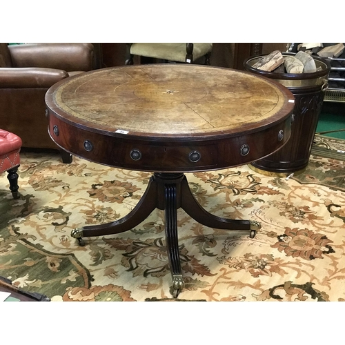 49 - Regency mahogany leather top drum table 43'' D x 29'' H...