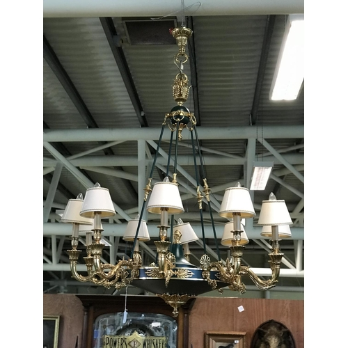 55 - Ex Shelbourne Hotel Very stylish brass and green patinated 10 branch light fittings decorated with a...