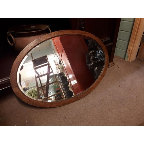 1 - Victorian oak bevelled edged mirror. (56 cm h x 80 cm w)....