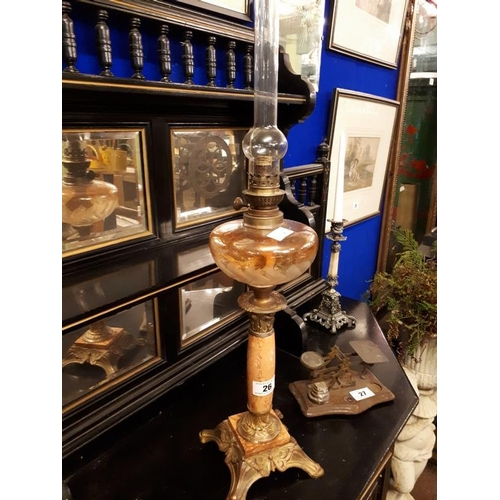 26 - Brass and marble oil lamp with clear cut glass bowl in the Art Nouveau style. ( 70 cm h)....