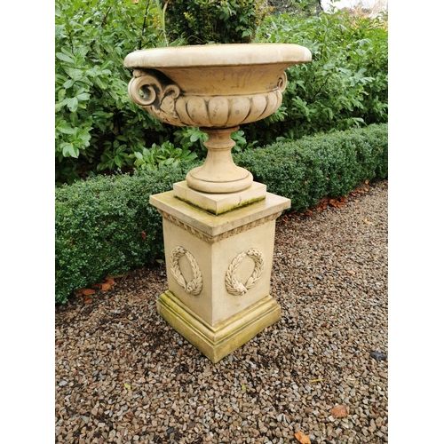 13 - Pair of coade stone garden urns. { 120cm H }....
