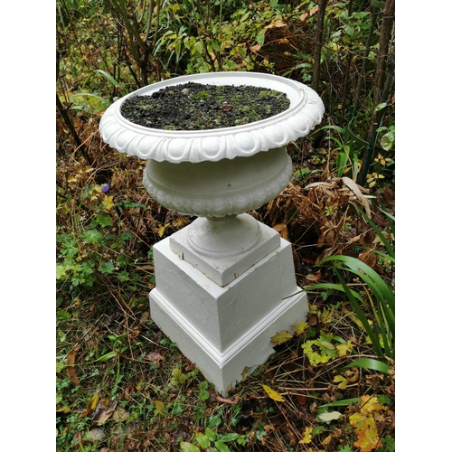 14 - Pair of cast iron garden urns in the Georgian style. { 79cm H }....