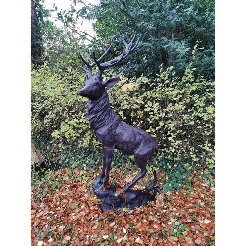19 - Two exceptional quality bronze models of a stags. { 194cm H X 94cm W }....