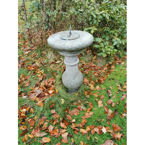24 - Granite sundial the brass plate on circular top raised on turned column. { Approx. 78cm H X 42cm Dia...