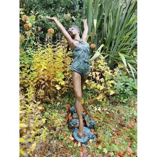 26 - Bronze figure of a girl standing on Lily pads in the form of a fountain. { 150cm H X 97cm W }....
