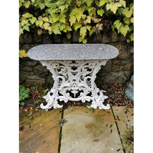 35 - Pair of cast iron lotus design marble top tables.  { 73cm H X 92cm W X 36cm D }....