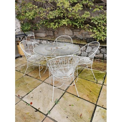 39 - Five piece metal garden set - Table { 100cm Dia. } and four matching chairs....