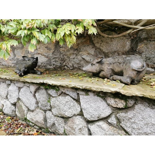 40 - Pair bronze figures of young pigs. { 26cm H X 46cm W }....