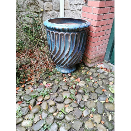48 - Pair of good quality glazed terracotta urns. { 76cm H X 62cm W }....