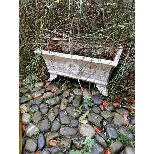 49 - Pair cast iron regency troughs / planters.  { 36cm H X 70cm W }....