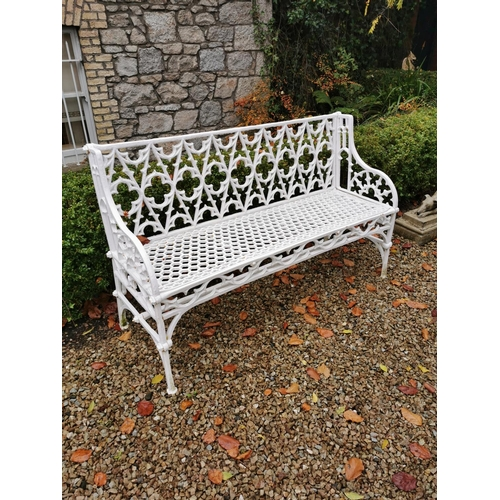 5 - Decorative cast iron garden seat in the Gothic style. { 84cm H X 135cm W X 51cm D }....