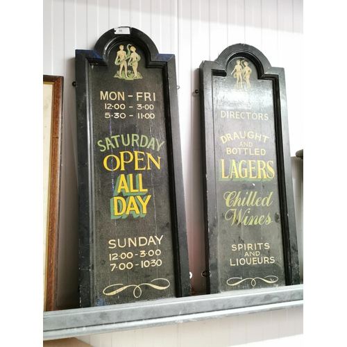 17 - Pair of wooden pub notice boards SATURDAY OPEN ALL DAY & LAGERS & CHILLED WINES....