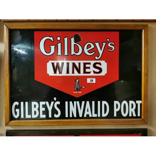 28 - Gilbeys Wine and Port Enamel Advertising Sign {55cm H X 79cm W}...