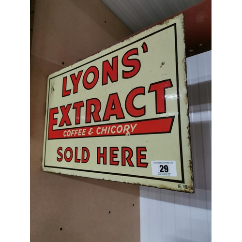 29 - Lyons Extract Coffee and Chicory Sold Here Double Sided Enamel Advertising Sign {30cm H X 45cm W}...