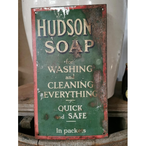 31 - Hudson Soap For Washing and Cleaning Everything Tin Plate Sign {23cm H X 13cm W}40...