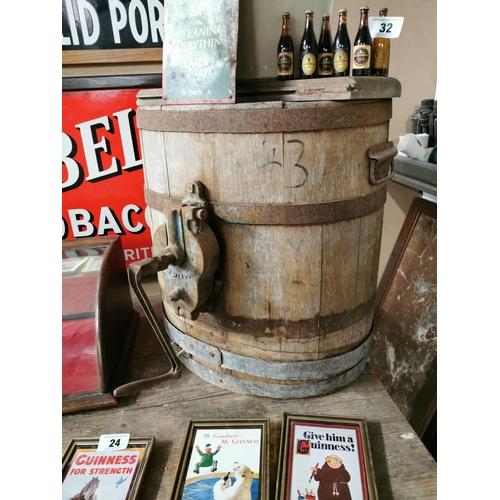 33 - Oak Metal Bound Table Churn {52cm H X 47cm W X 54cm D}...