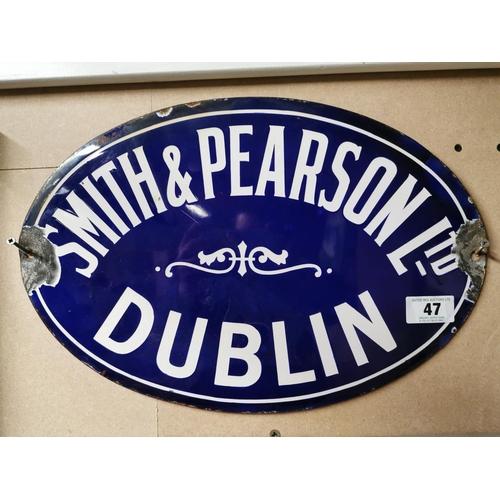 47 - Smith and Pearson Ltd Dublin Oval Enamel Sign {30cm H X 45cm W}...