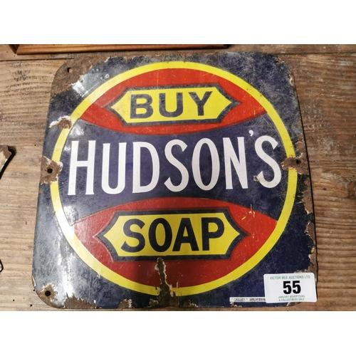 55 - Buy Hudson Soap Enamel Advertising Sign {27cm sq.}...