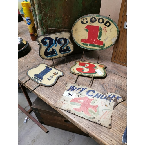 56 - Five early 20th C. Tin Plate Fairground Signs...