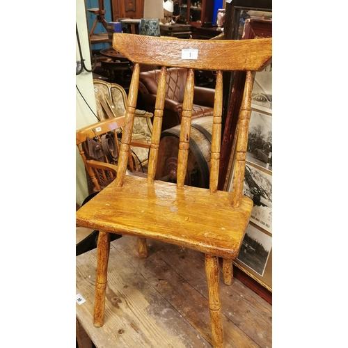 1 - 19th. C. Scumbled pine hedge chair....