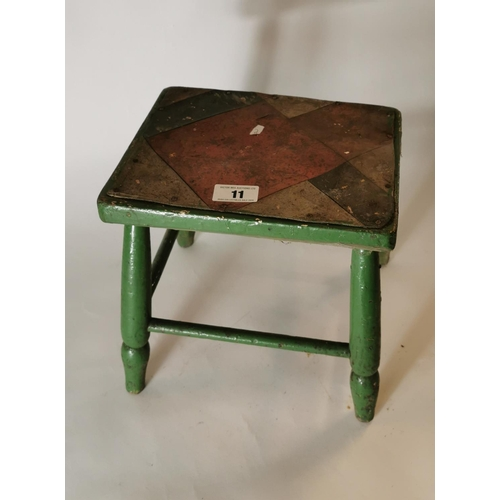 11 - 19th. C. painted pine stool on four turned legs....
