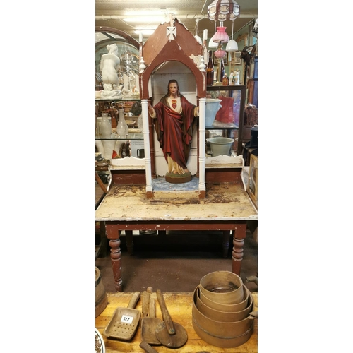 16 - Pine altar stand with statue of Our Lord with original paint originally from Cp Kilkenny....
