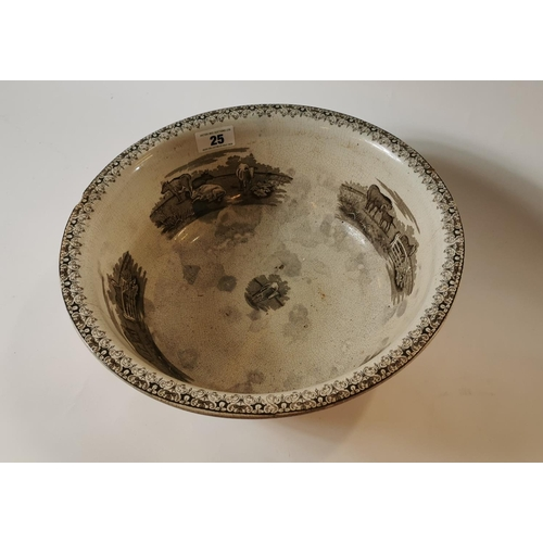 25 - 19th. C.  brown and white potato bowl with cow and horse transfer....