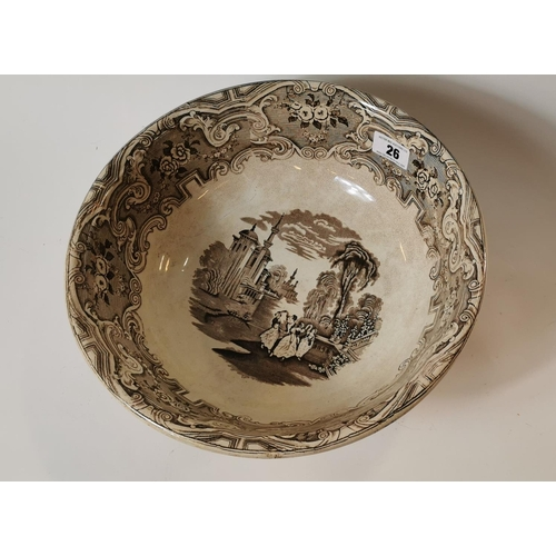 26 - 19th. C. transfer basin with Damascus scenes....