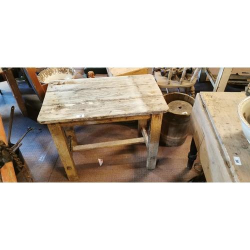 38 - 19th. C. pine table. (83 cm L x 49 cm W x 71 cm H)....