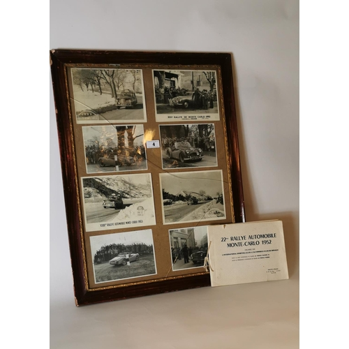 4 - Framed photo montage of Monaghan man Brian McCaldin competing in Monte Carlo and album of same 1952....