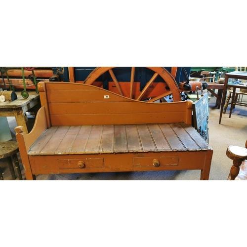 43 - 19th. C. painted pine settle seat. (138 cm L x 56 cm W x 88 cm H)...