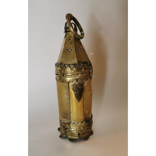 5 - 19th. C. brass candle lantern....