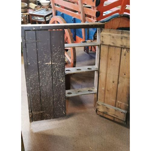 53 - 19th. C. pine wall cupboard with two doors in original paint. (94 cm W x 121 cm H x 21 cm D)...