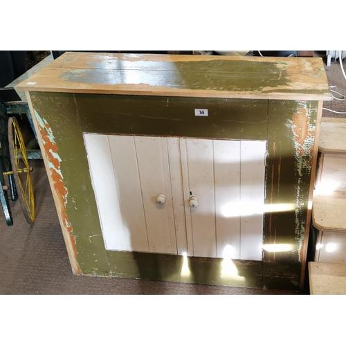55 - Late 19th. C. two door painted pine server. (112 cm W x 93 cm H x 42 cm D)...