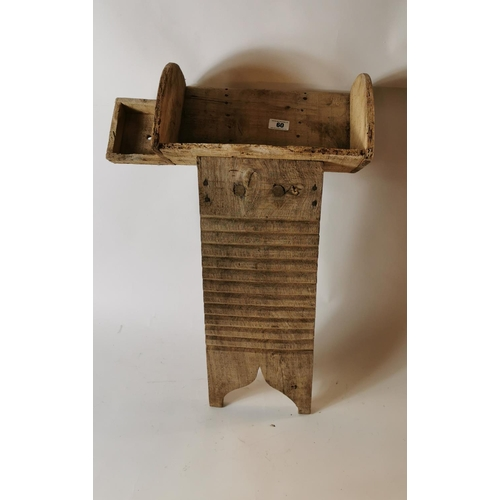60 - Unusual 19th. C. pine and elm washboard from the south of Ireland...