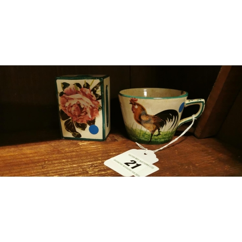 21 - Weymss ware cup with rooster decoration and a ceramic match strike....