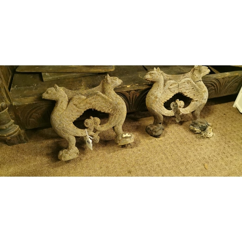 41 - Pair of William IV cast iron foot scrapers in the form of Sphinx....