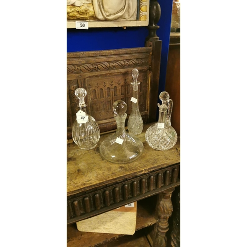 47 - Collection of four 19th. C. and later cut glass decanters....