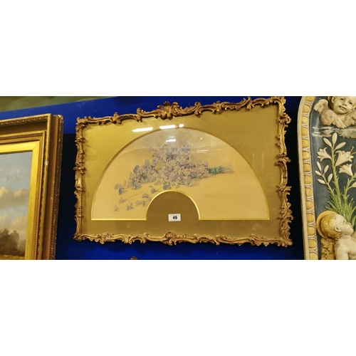 49 - 19th. C. Watercolour Signed Marie mounted in gilt frame....