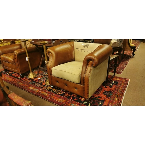 53 - Leather and hide club chair - POLO....