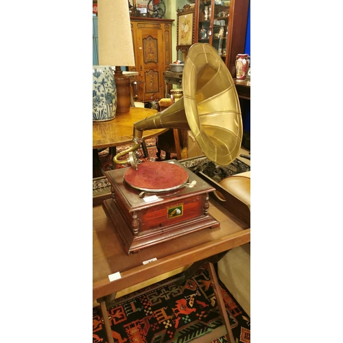 56 - His Master's voice mahogany gramaphone with brass horn....